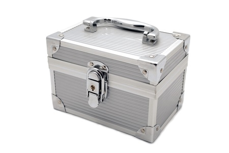 valuables: a safe locked metal box for storing your valuables Stock Photo