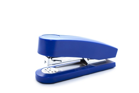 blue stapler isolated over a white background photo