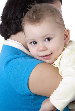 picture of happy mother breastfeeding baby boy photo