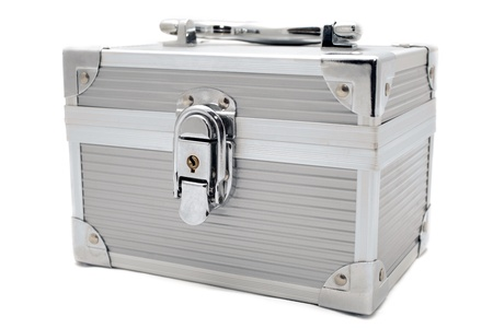 a safe locked metal box for storing your valuables photo