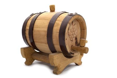 oak barrel: aged oak barrel isolated on white background