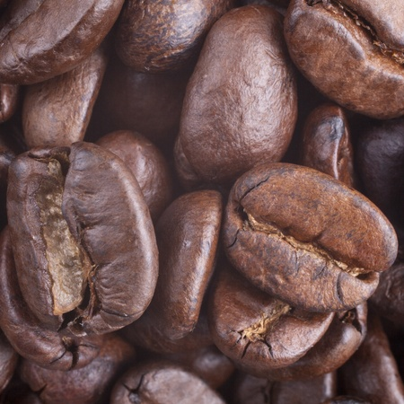 decaffeinated: Coffee grains for a background close up
