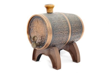 aged oak barrel isolated on white background photo