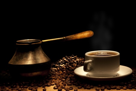 turkish ethnicity: Beautiful coffee still-life on a black background