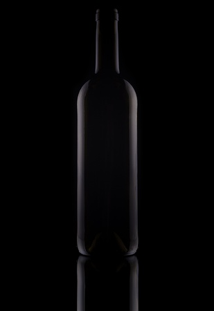 Empty bottle from wine with mirror the image on a black background Stock Photo - 9191357
