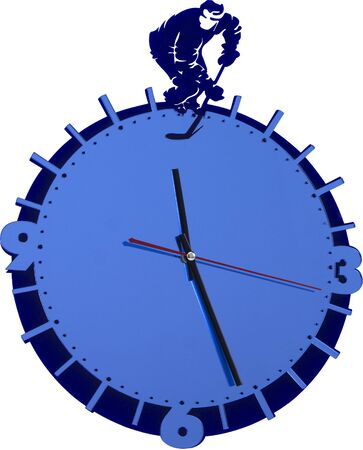 wall clock with a hockey player isolated on the white Stok Fotoğraf - 133384117