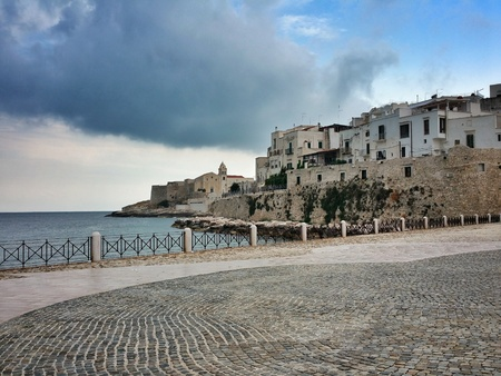 foggia: terrace of Vieste, Apulia, Foggia, Italy Stock Photo