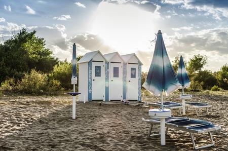 beach chairs: beach umbrellas and beach chairs closed at the end of season