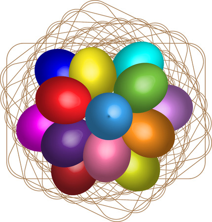 Easter decoration, colored eggs, colored eggs, Easter decoration, colored eggs, vector eggs.