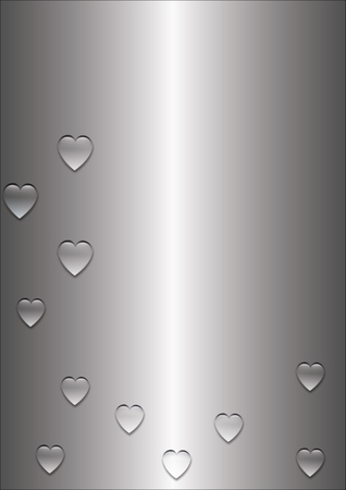 Silver heart in the form of a drop of water. A drop of rain A drop of water in the form of a heart on a silver background. Vector graphics of a sea drop of ocean drop in the shape of a heart. Stock Vector - 124297381
