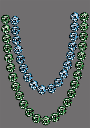 A sample of beads from sapphires and emeralds on a gray background. Natural blue and green stones pattern. Vector graphics, illustration of products from rare gems, blue sapphires, green emeralds.
