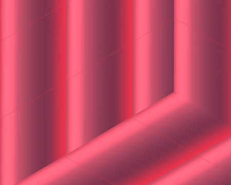 Three-dimensional composition of red and pink canvas. The contour typography of the red-pink canvas is the most fashionable trend in website design and innovative products. Vector illustration of three-dimensional red-pink room.
