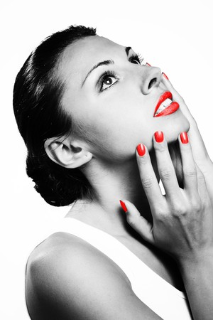 Monochromic portrait of beautiful woman with red lips and nails Stock Photo - 7732649