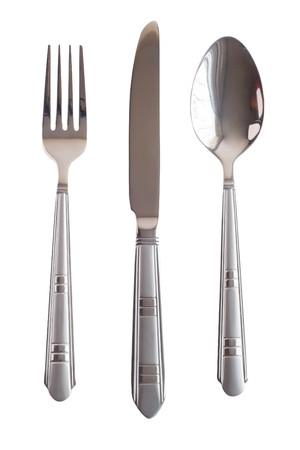 cubiertos de plata: Cuchara Set horquilla cuchillo plata aislado