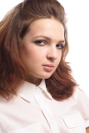 Portrait Beautiful Girl in blouse isolated white  photo