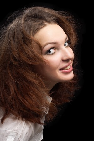 Girl looking surprised dishevelled hair isolated  photo