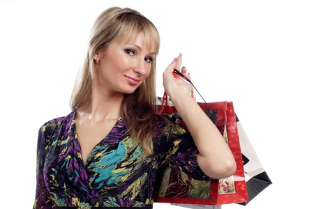 beautiful young girl hold shopping bags Stock Photo - 9846324