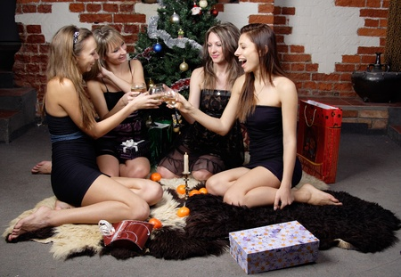 group of gilrs celebrated christmas photo