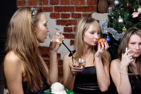 celebrated: three young women celebrated christmas Stock Photo