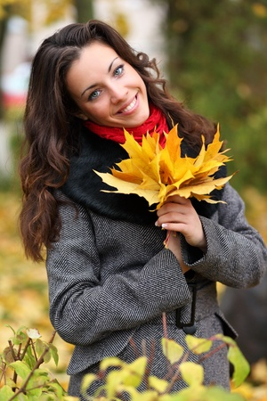russian girls: Girl in park colourful autumn