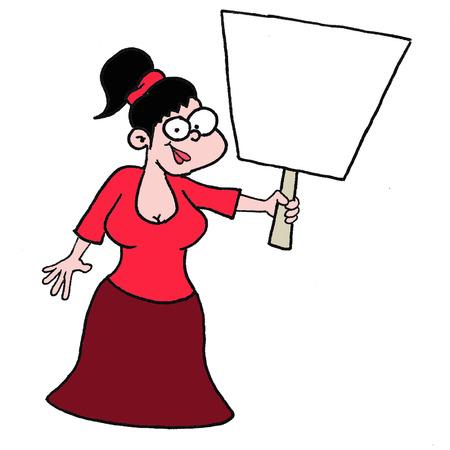girl holding banner Vector
