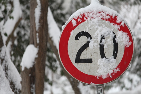Traffic sign in Snowy Park Stock Photo