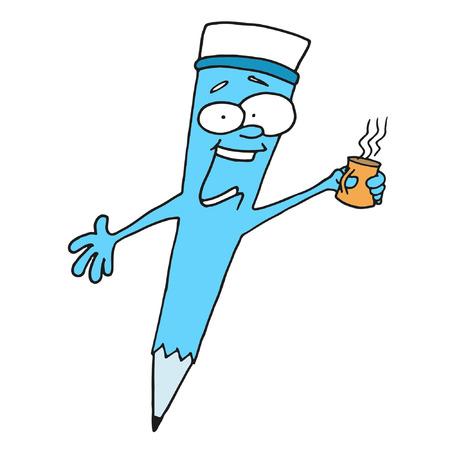 zvýšil: Nápoje káva modrá tužka Ilustrace
