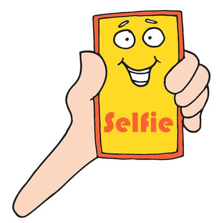 Mobile Phone Selfie vector illustration Illusztráció