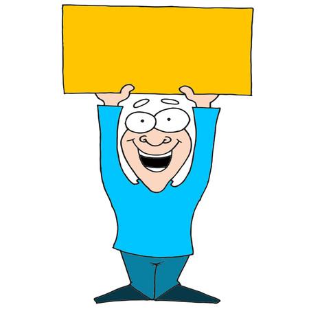 man holding orange banner vector illustration Illusztráció