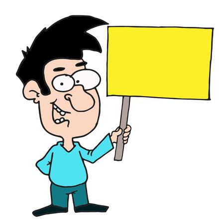 man holding yellow banner vector illustration Illusztráció