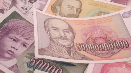 Serbian inflation banknote Money background photo