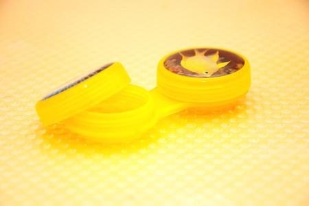 contact lense: Contact lense container  Stock Photo
