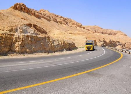 negev: Highway in Negev desert.  Stock Photo