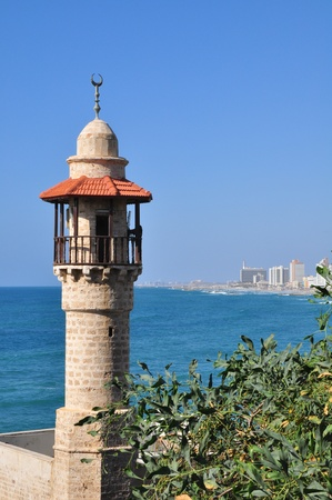 The tower of the Jaffa mosque.  Stock Photo