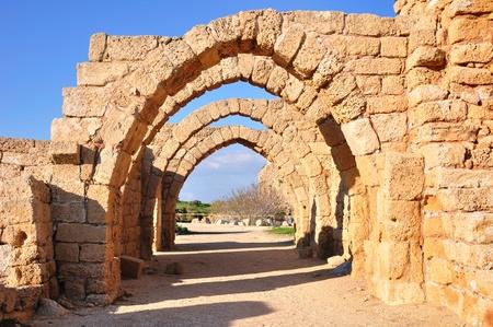 Ruins of antique caesarea. Israel.  Imagens