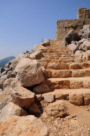 Ancient stairs. Nimrod fortress. Israel. Stock Photo