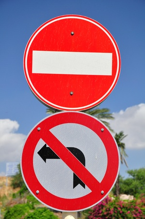 Prohibitive traffic signs.  photo