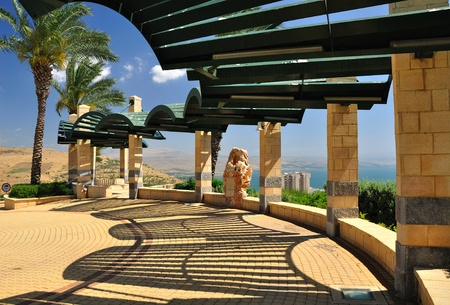 Observation place in Tiberius with view on Kinneret lake.Israel.  Stock Photo - 9796345