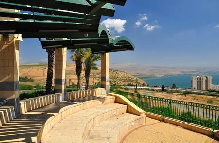 Stone veranda with the view on Kinneret lake. Tiberius. Israel.   Stock Photo - 9796344