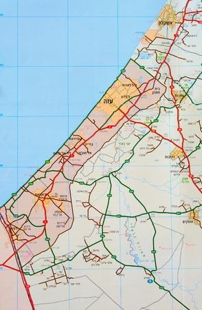 gaza: Map of Gaza Strip in Hebrew language.