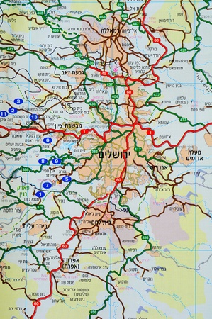 Map of Jerusalem region in Hebrew language. Stock Photo - 9796522