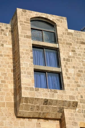 yaffo: Ventana de Jaffa casa de Israel Foto de archivo