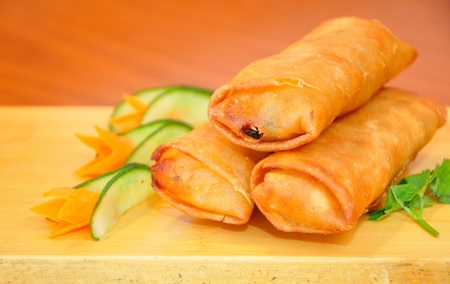 Portion of Chinese eggrolls Stock Photo