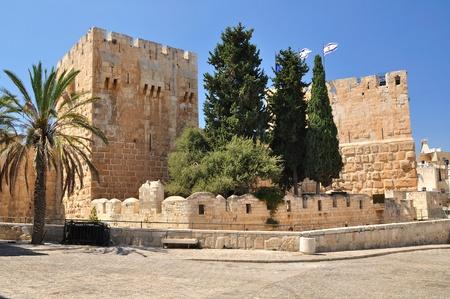 holyland: Citadel of King David in Old Jerusalem.  Stock Photo