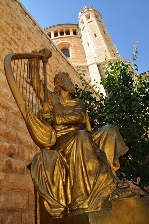 embrasure: Statue of King David near dormition abbey. Jerusalem