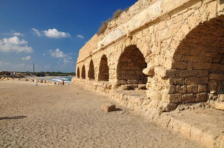 Roman aqueduct at Caesarea coast.