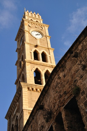 khan: Khan al-Umdan clocktower. Acre. Israel.  Stock Photo