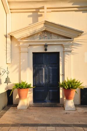 holyland: Side door of Greek Orthodox church in Capernaum  Israel
