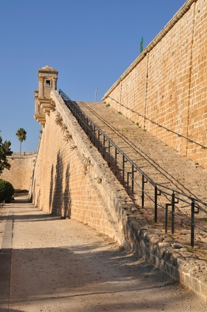 embrasure: Wall of Acre fortifications. Israel.