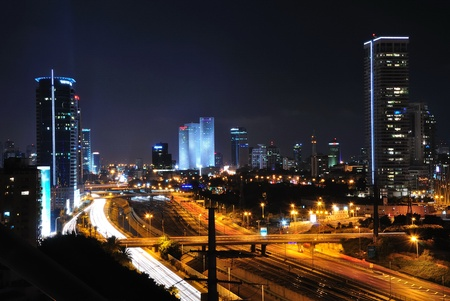 Tel Aviv by night. Long shutter speed shot. photo